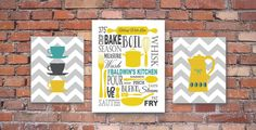 """I LOVE these!! ON SALE NOW Kitchen Art Personalized Prints - Utensils, Cups, Coffee Pot - Chevrons Mustard, Grey, Teal Set of 3- 8"""" x 10""""'s and 11"""" x 14"""""""