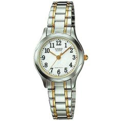 Casio #LTP1275SG-7B Women's Two Tone Metal Fashion Easy Reader Watch Casio. $27.01. 3-Hand Analog. Accuracy: +/-20 seconds per month. Water Resistant. Battery SR626SW, Approx. battery life: 3 years. Module 1330, Case Size: 26mm Diameter, 8mm Thickness