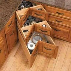 Corner cabinet space options