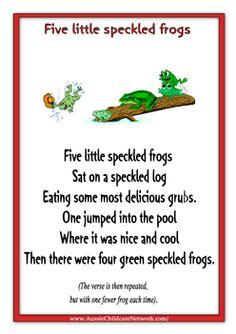 Nursery Rhymes Five Little Speckled Frogs Rhyming Preschool Songs