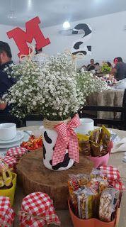 Fazendinha - Decoração da mesa dos Convidados Cow Birthday Parties, 2 Birthday, Farm Animal Birthday, Farm Birthday Cakes, Cowgirl Birthday, Cowgirl Party, Farm Animal Party, Farm Themed Party, Barnyard Party