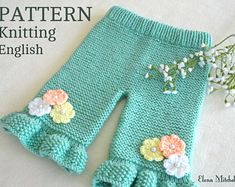 Knitting PATTERN Baby Pants Knitted Baby Pants Pattern Baby Girl Pants Garter Stitch Baby Clothes Newborn Pattern Knitted Baby Girl Outfit