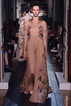 """Dress """"Les Muses"""" in nude organza and silk chiffon ramages."""