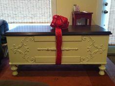 """Christmas present to BF, 1929 cedar """"treasure"""" chest from his dad's side of the family. Used to be painted pale green..redone to expose beautiful walnut top and stressed the chest with antique white paint. Now an end of bed chest or coffee table"""