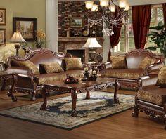 Acme 15160 Dresden 2Pcs Brown PU Leather Sofa Set Loveseat
