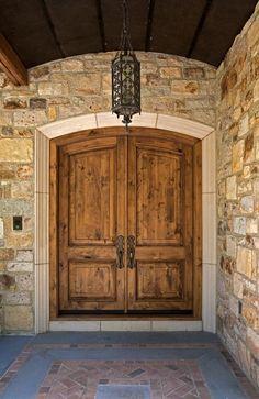 Cote d' Azur Luxury Estate Double Front Entry Doors, Double Doors Exterior, Traditional Front Doors, Cabin Doors, Luxury Estate, Door Makeover, New Home Designs, Facade House, Wooden Doors