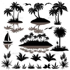 Tropical Set With Palms Silhouettes by OK-SANA Tropical Set, Sea Island with Palm Trees, Plants, Flowers, Birds Gulls and Ship, Black Silhouettes Isolated on White Background V