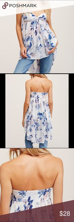 NWTFree People Mirage Tube Top Beautiful flowing high-low  tube top with removable, adjustable straps.  Perfect!  Ivory, blue & light peachy-pink floral. Small. Free People Tops
