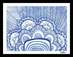 "Greeting Art Card w/envelope, ""India's Blue,"" by Rielle 5 1/2"" x 4 1/4"" on Etsy, $4.99"