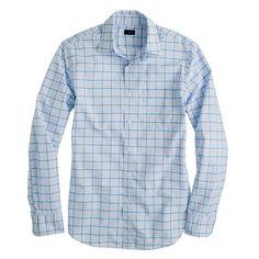 J.Crew - Secret Wash shirt in bright surf check, 64.5/54.5