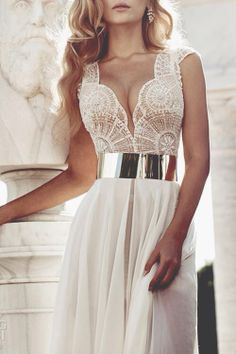 Lace dress with gold belt