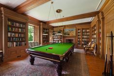 The stunning billiard room/library of Scottish Baronial style castle Tower of Lethendy. Pool Table Room, Pool Tables, Library Bookshelves, Game Room Decor, Game Rooms, Scottish Castles, Home Libraries, Billiard Room, Family Room