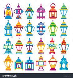 Set Of 24 Ramadan Lanterns _ Flat Style Design _ Happy Ramadan Stock Vector…