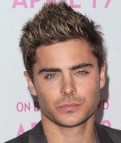 Zac Efron Stylish and Rebellious Style with Spike up Fringe and Attractive Tone