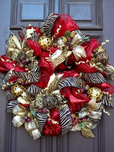 Red Christmas Animal Print Wreath Angels Nest