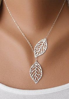 Silver Leaf Necklace - Two Leaves Design Necklace