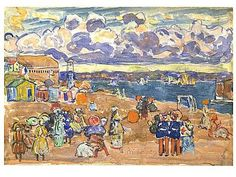 Beach at Saint-Malo, (1907) Maurice Prendergast, American, b. St. John's, Newfoundland, Canada, 1858–1924  Watercolor, gouache, oil and crayon on paper, 13 7/8 X 19 15/16 IN. IRREG. (35.2 X 50.6 CM.)  Hirshhorn Museum and Sculpture Garden, Smithsonian Institution, Washington, DC, Gift of the Joseph H. Hirshhorn Foundation, 1966  Accession Number: 66.4131  Hirshhorn Museum and Sculpture Garden Collection, American Impressionism