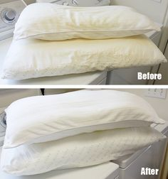 "DIY washing those 'yellowed"" pillows and getting them WHITE again. - They are NOT PURE WHITE again, but they are much MUCH CLEANER.  Plus, I made my own ""DIY Bleach.""  Don't judge until they've come out of the dryer as wet pillows still look dingy."