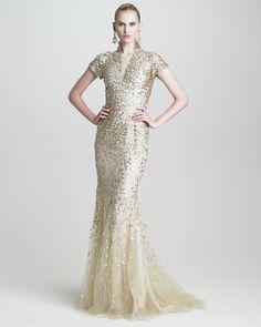 Oscar de la Renta Floralsequin Vneck Gown