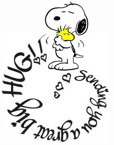 Sending you a great big hug! Snoopy and Woodstock. Snoopy Love, Snoopy Hug, Snoopy And Woodstock, Happy Snoopy, Charlie Brown Quotes, Charlie Brown And Snoopy, Peanuts Quotes, Snoopy Quotes, Birthday Message For Friend