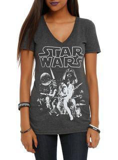 Charcoal heather V-neck tee with classic <i>Star Wars</i> poster art inspired design on front.<ul><li> 50% cotton; 50% polyester</li><li>Wash cold; dry low</li><li>Imported</li><li>Listed in junior sizes</li></ul>