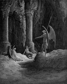 Satan meets his wicked spawn for the first time as he leaves on his journey to corrupt man: Sin, his daughter, and Death, his son,  sit by the Gates of Hell.