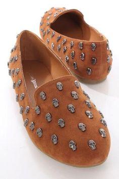 Skull Studded Loafer Flats