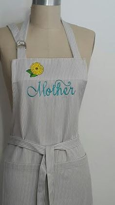 Silver/Gray Strips Apron - Silver Apron with Teal Embroidery -  Personalized Mother Apron - Mothers day gift apron- Hostess gift idea . by SouthernAplus on Etsy
