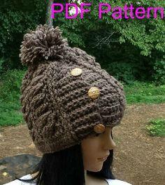 Chunky Crochet Hat Pattern. Crochet Beanie Hat. Crochet Cable Hat.