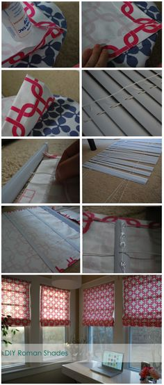Such a clear & simple walk-through...no sewing required! DIY Roman Shades--could I do this?? Probably not, but pinning to try one day when I'm bored...ha!