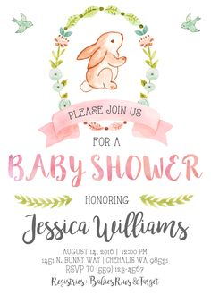 Bunny Baby Shower Invitation Invite Our Little Bunny Watercolor It's a Girl Pink and Gold Shabby Chic Rustic Vintage Garden Party Woodland