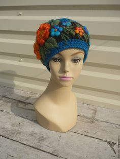 Купить Шапка с вышивкой - комбинированный, цветочный, шапка, шапка вязаная, шапка женская, шапка с цветком