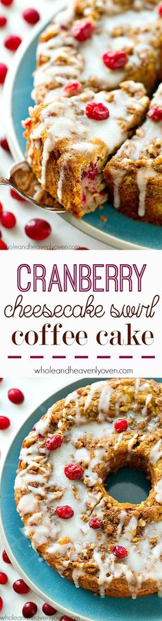 Swirled with a luscious cheesecake filling and topped with streusel and lots of glaze, this cranberry cheesecake swirl coffee cake is the ultimately impressive holiday breakfast!