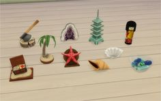 BV Souvenirs & Collectables Converted from TS2 Bon Voyage. Pirate Chest Momento - decorations/sculptures Palm Tree Momento - decorations/sculptures Starfish - decorations/sculptures Conch - decorations/sculptures Clam - decorations/sculptures Coloured Glass - decorations/sculptures Bury the Hatchet - decorations/sculptures Mountain Geode - decorations/sculptures Pagoda Souvenir - decorations/sculptures Doll by Oh The Memories - decorations/sculptures DOWNLOAD: dropbox / mega