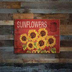Six Sunflowers Tin Sign