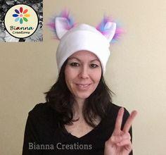 SALE ! Kawaii White fleece ear cat hat, Cosplay cat hat, Anime fluffy fleece hat, Pink Blue Purple Faux fur ears cat hat, Pussycat hat by BiannaCreations on Etsy