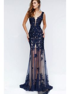 Long Blue Lace Navy Mermaid Prom Formal Evening Dresses 1702019