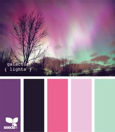 galactic lights. Girl room. Light blue as the walls and the bright pink for curtains with black (not dark navy) accents. Aurora Borealis inspired colors. So beautiful with dark wood and cream accents as well. Perfect for a living room or even laundry room!