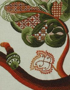 RSN Crewel Work, also known as Jacobean embroidery. Looks like Remains stitch on the flower border?