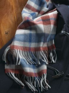 Wool and alpaca Scottish plaid scarves available in two color ways, navy and yellow plaid. Also available: royal, red and brown . Scottish Plaid, Royal Red, Mens Fall, Fall 2018, Plaid Scarf, Wool, Yellow, Brown, Holiday