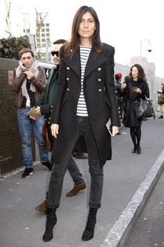 Classic stripe with French navy coat. I mean I love stripes I have a black jacket like this...hmm :)