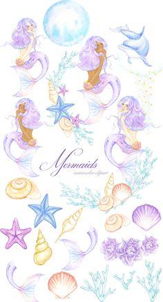 Watercolor Mermaid Clipart, Magic Ocean Illustration, Summer Clip art, Fantasy U. - Different Ideas Watercolor Mermaid, Mermaid Art, Watercolor Art, Underwater Tattoo, Underwater Sea, Vintage Clip Art, Seahorse Painting, Mermaid Tails, Mermaid Tail Drawing