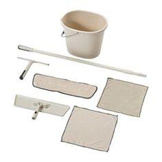 IKEA - SKVALPA, Putz-Set mit Flachmopp 7-tlg., Mikrofaser-Moppkissen und -tücher…