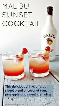 Malibu Sunset Cocktail This delicious drink recipe offers a sweet blend of coconut rum, pineapple juice, and sweet grenadine syrup. Pop a cherry and Pineapple garnish in for your new favorite beach drink! Beach Drinks, Summer Drinks, Refreshing Drinks, Malibu Cocktails, Drinks With Malibu Rum, Sweet Cocktails, Malibu Sunset Cocktail Recipe, Sweet Mixed Drinks, Cocktail Drinks