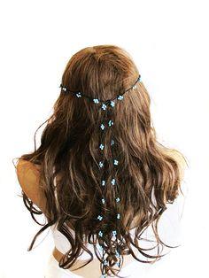 crochet Headpiece Headband Hair Piece blue by selenayselenay, $22.00