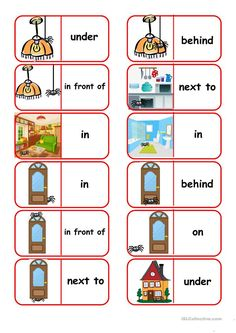 Where is the Spider? Dominoes - English ESL Worksheets English Prepositions, English Vocabulary, Esl Learning, Teaching Kids, English Lessons, Learn English, English Class, Dominoes For Kids, Preposition Activities
