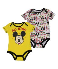Yellow Mickey Mouse 'All Star' Bodysuit Set - Infant