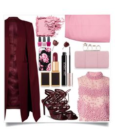 """""""Burgundy x Soft Pink"""" by dadienoke-bhatosay ❤ liked on Polyvore featuring WithChic, OPI, Roksanda, Topshop, Steve Madden, Alexander McQueen, Tom Ford, Yves Saint Laurent, Kate Spade and Bobbi Brown Cosmetics"""