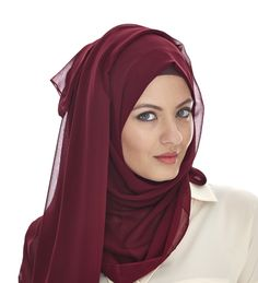 BURGUNDY SOFT GEORGETTE HIJAB - Gorgeous color