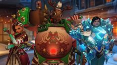 Overwatch Sombra Roadhog and Pharah Winter Wonderland Skins Wallpaper